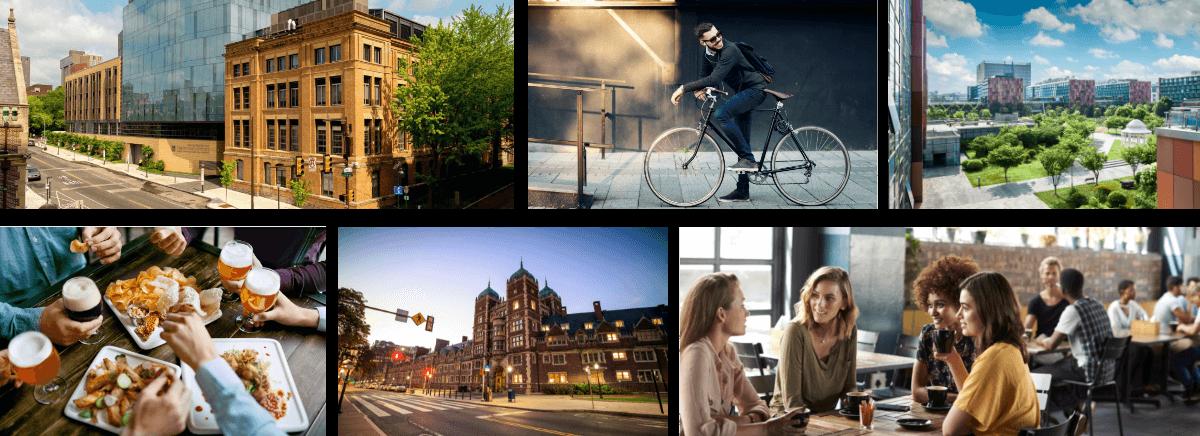 Chestnut Street apartments neighborhood scenes collage near Philadelphia luxury apartments